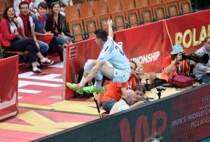 France's Jenia Grebennikov attempt to save a ball
